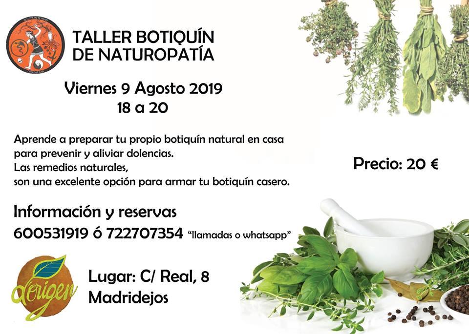 9 agosto, Botiquín Naturopatía-TALLER